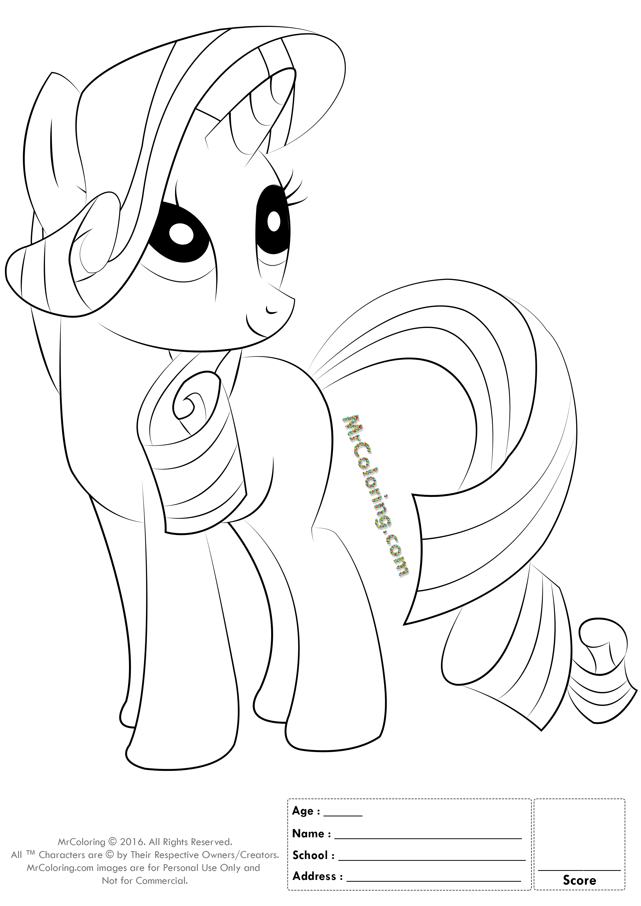 mlp coloring pages rarity old school | Coloring Page For My Little Pony Rarity - Coloring Home