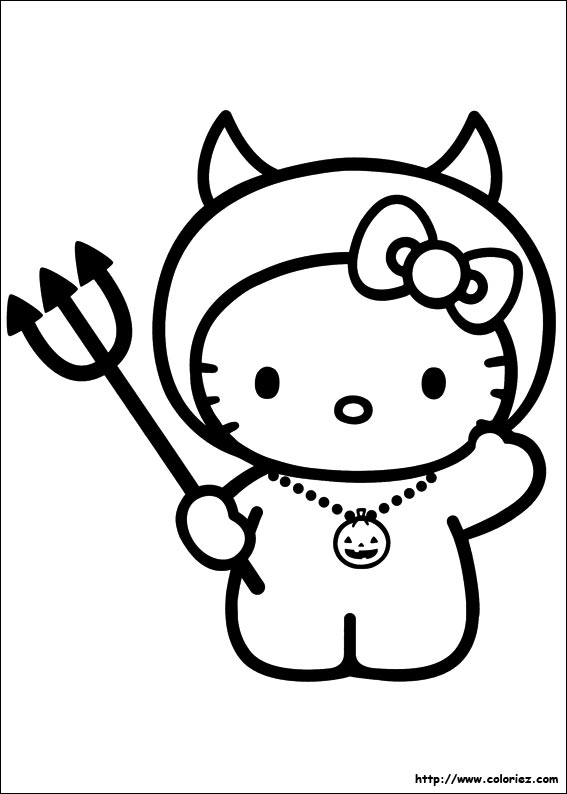 Coloring Pages Of Hello Kitty Halloween