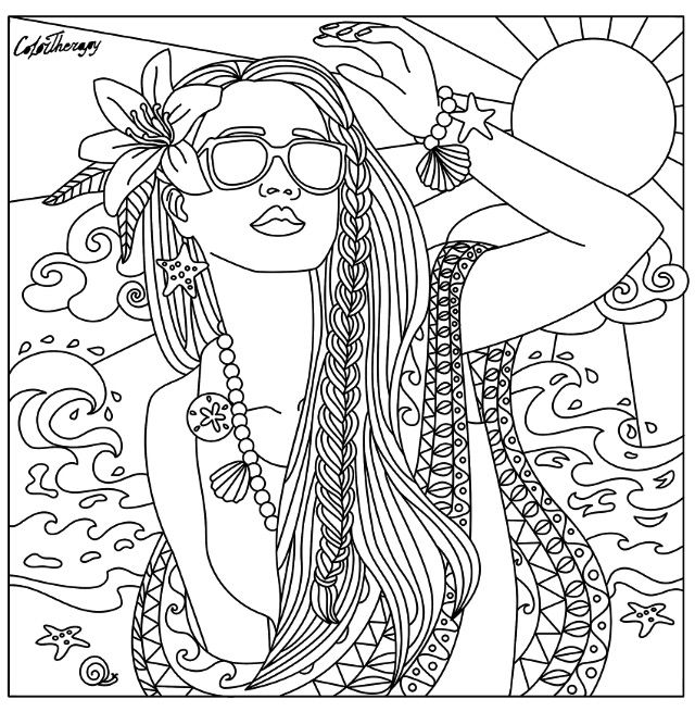 Beach babe coloring page | Beach coloring pages, Coloring pages, Coloring  pages for girls