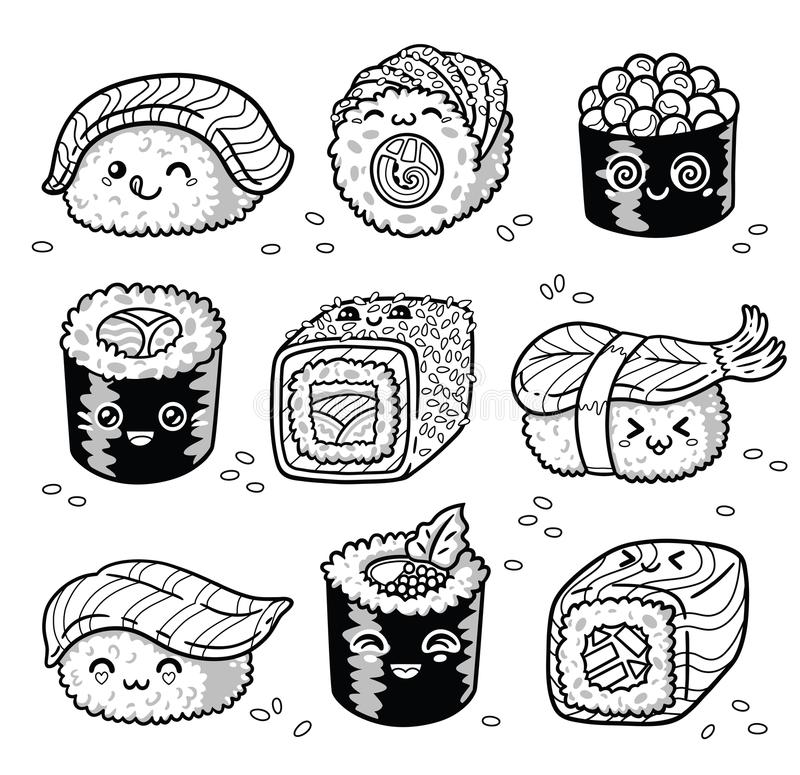Sushi Coloring Pages - Coloring Home
