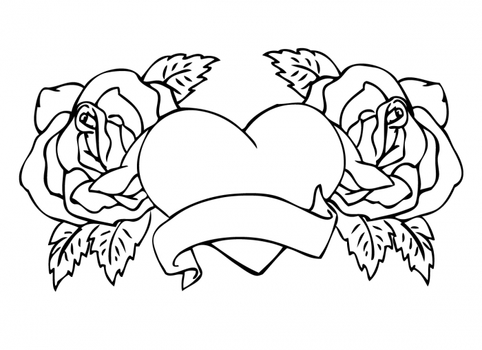 coloring pages roses and hearts - adult rose flowers hearts and roses coloring pages