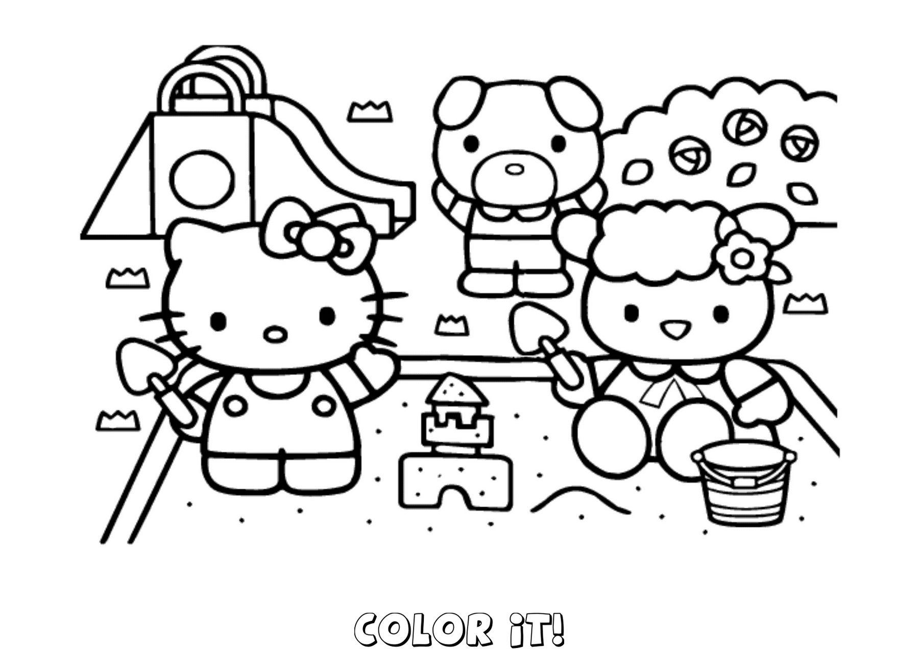 Hello Kitty Cycling Coloring Page Coloring Home