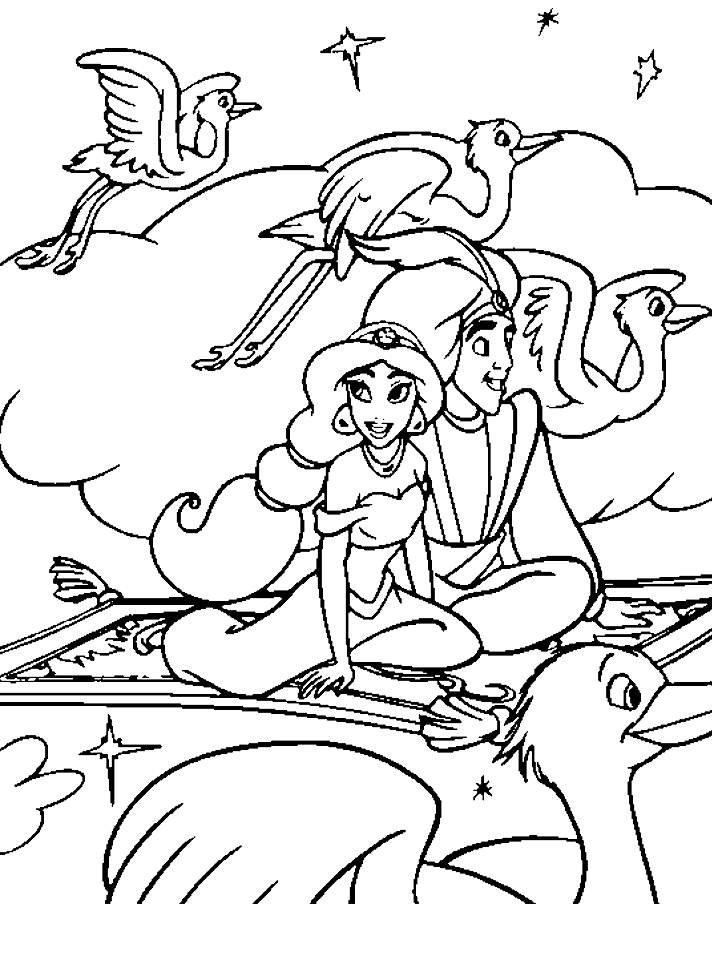 Disney Princess Jasmine And Aladdin Coloring Pages