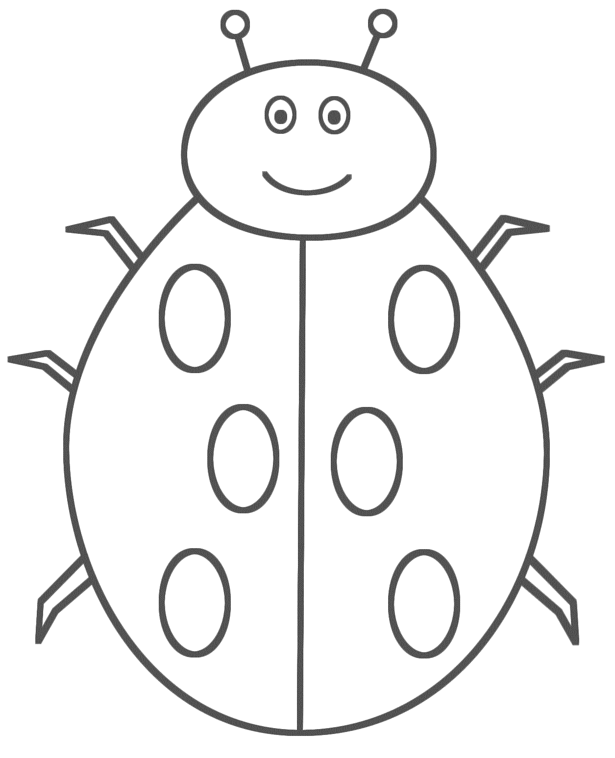 Ladybug Smiling - Coloring Page (Insects)