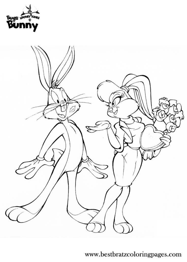 Lola Bunny And Bugs Bunny Coloring Pages Looney Tunes Cartoon