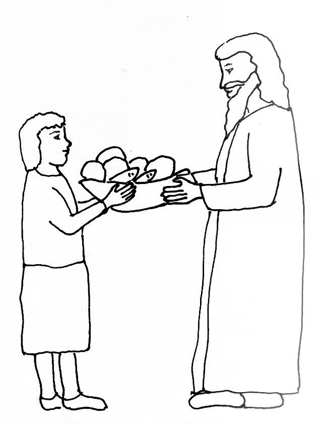 12 pics of 5 loaves and fish coloring page bible jesus feeds - Fish Coloring Pictures 2