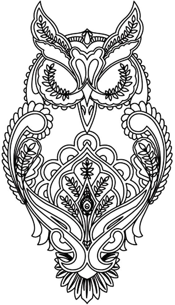 Free coloring page «coloring-adult-difficult-owl». | Craft Ideas ...