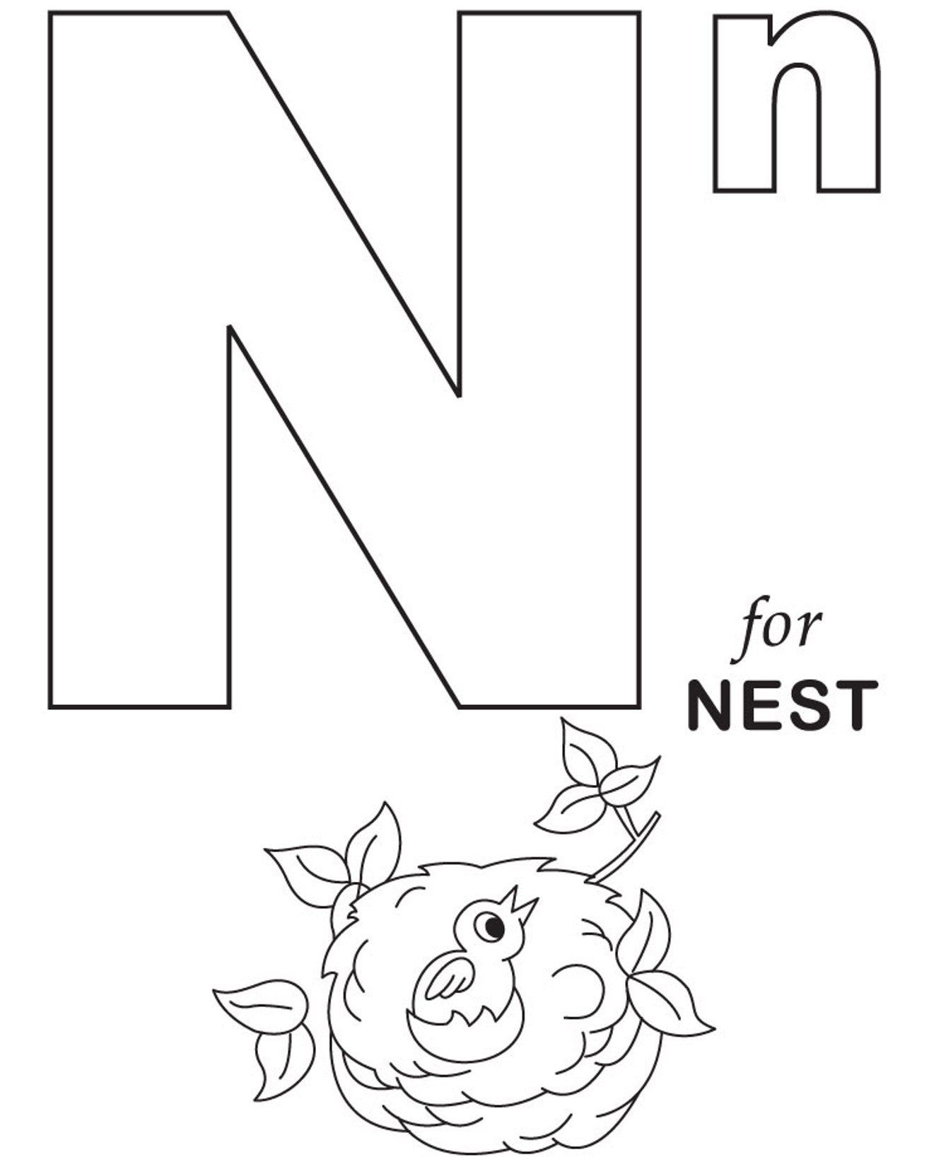 Alphabet Recognition Coloring Pages : Letter n preschool coloring pages home