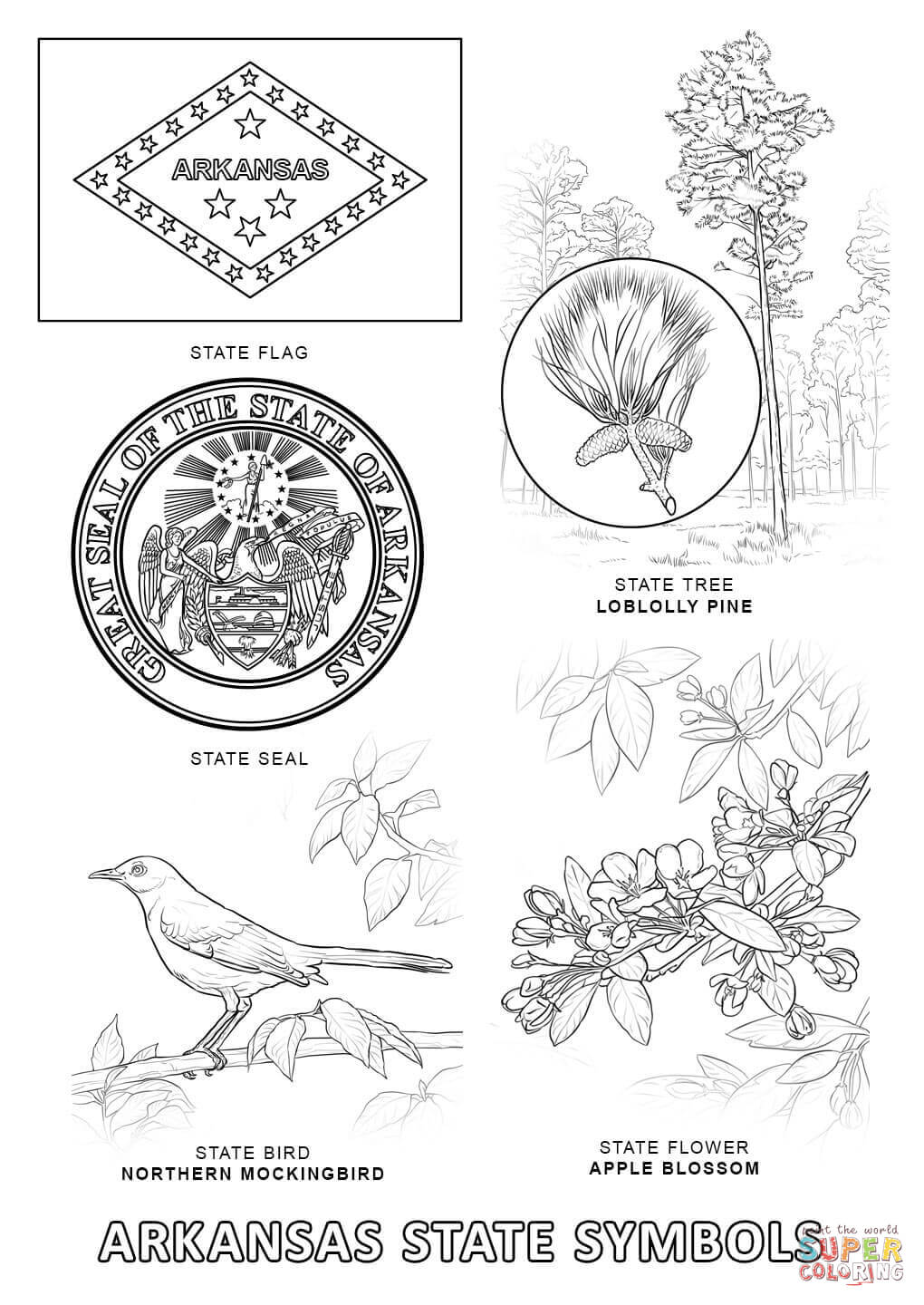 arkansas coloring page coloring home