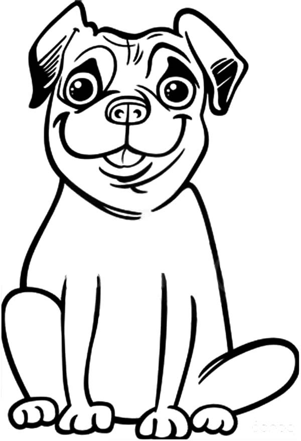 Silly Face Pug Dog Coloring Page