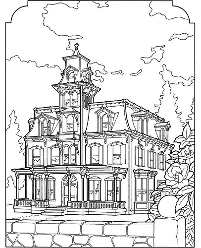 victorian mansion coloring pages - photo#9