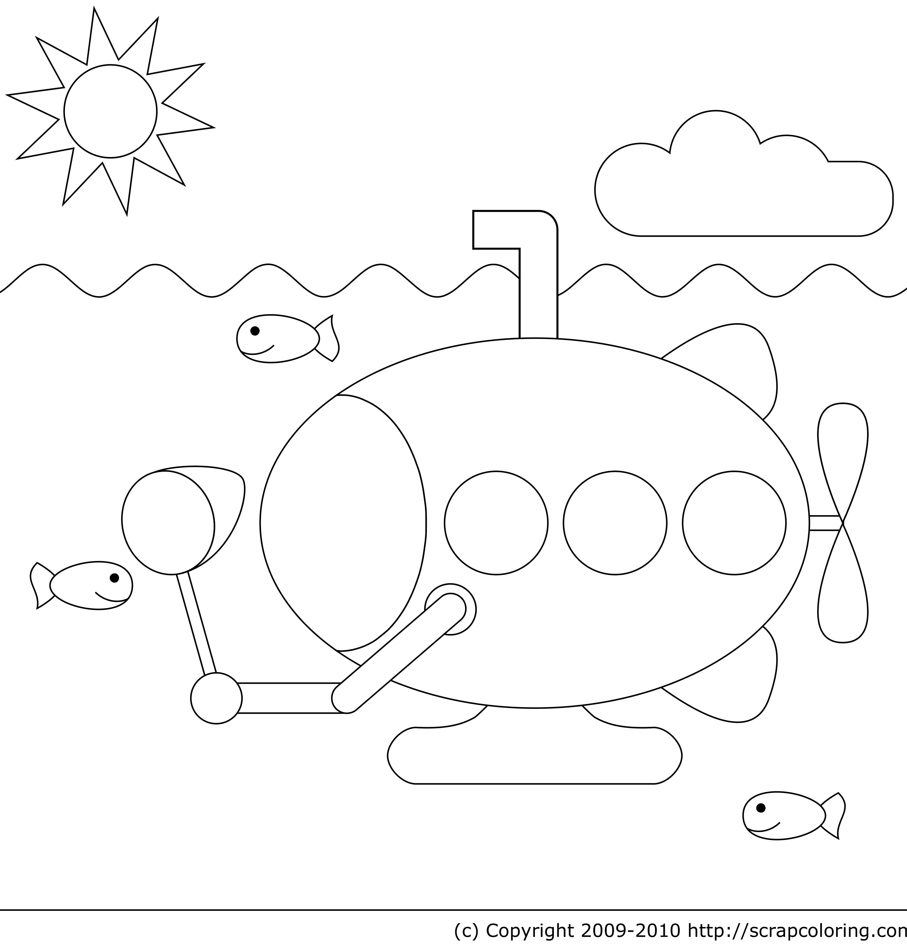 Yellow Submarine Coloring Page