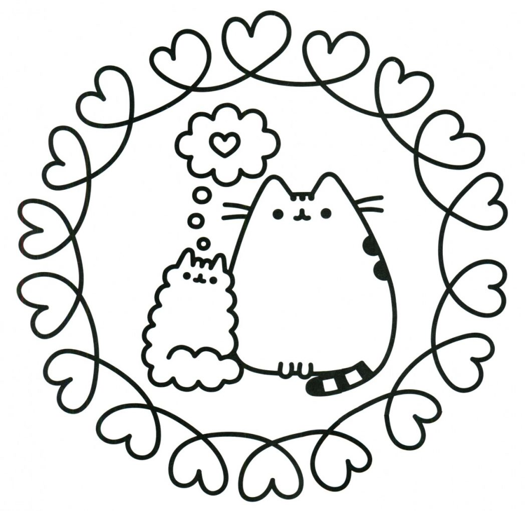 Pusheen Coloring Page Cat Love Best Heart Sheets For Adults ...