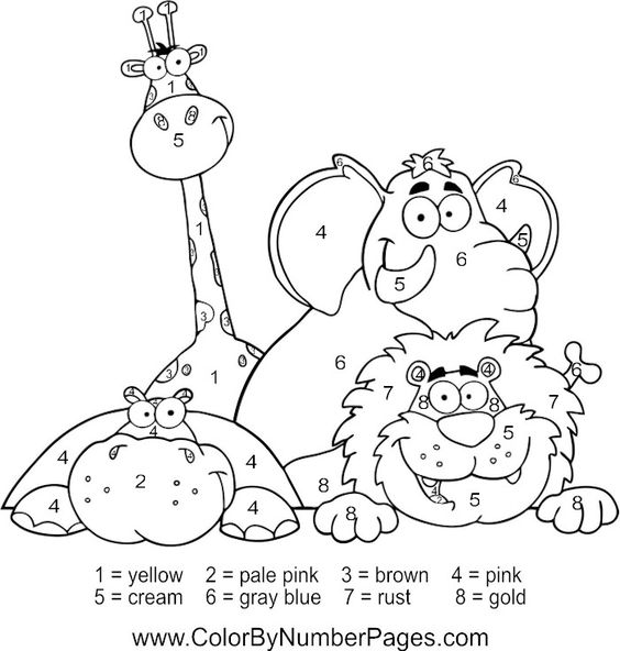 zoo animals color by number page | Fun Kid Printables | Pinterest ...