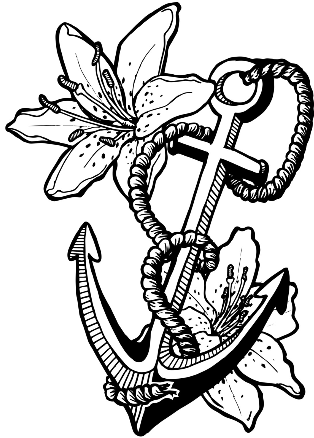 Anchor Coloring Page Anchor With Rope Coloring Page Free Printable Coloring Home