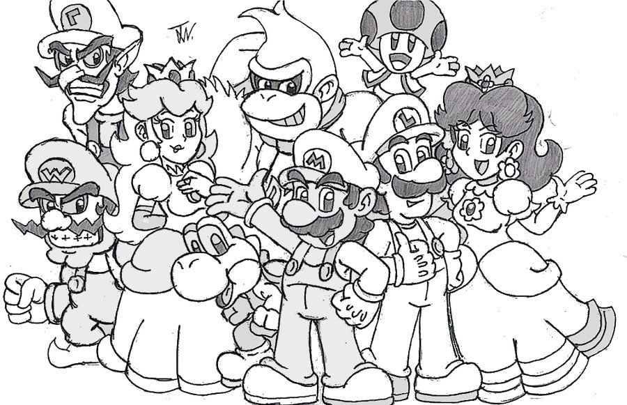 super mario 64 coloring pages - mario luigi peach daisy bowser toad picture coloring page