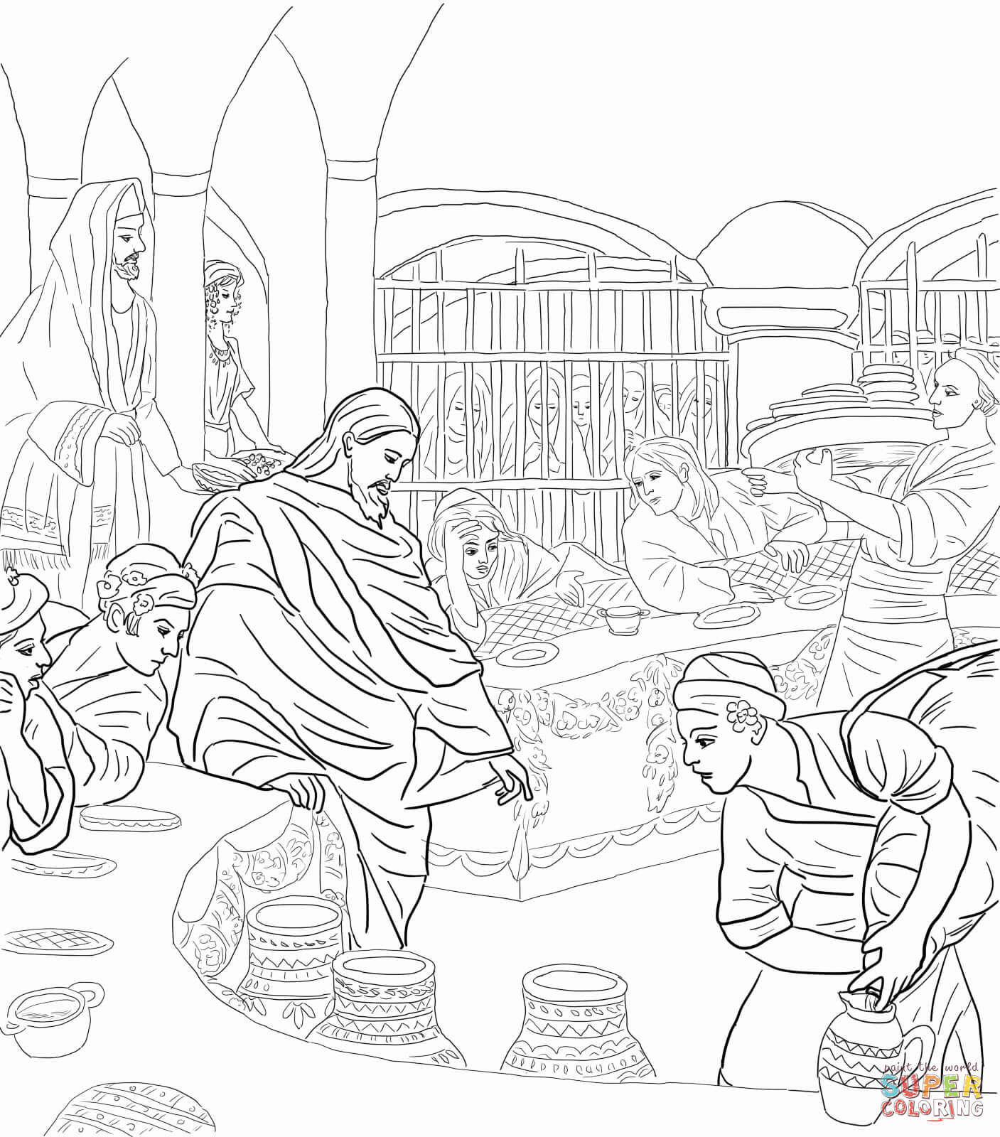 First Miracle Of Jesus At The Wedding Feast Cana Coloring Page