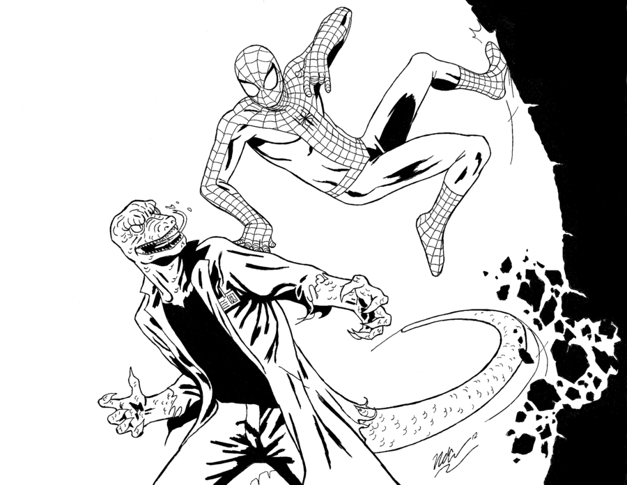 Spiderman Coloring Sheets Printable Vs Lizard