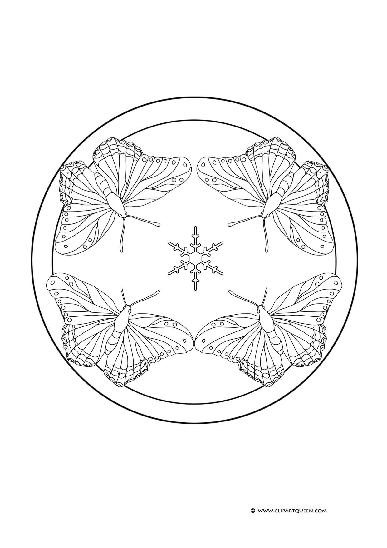 Free Butterfly Mandala Coloring Pages - Coloring Home