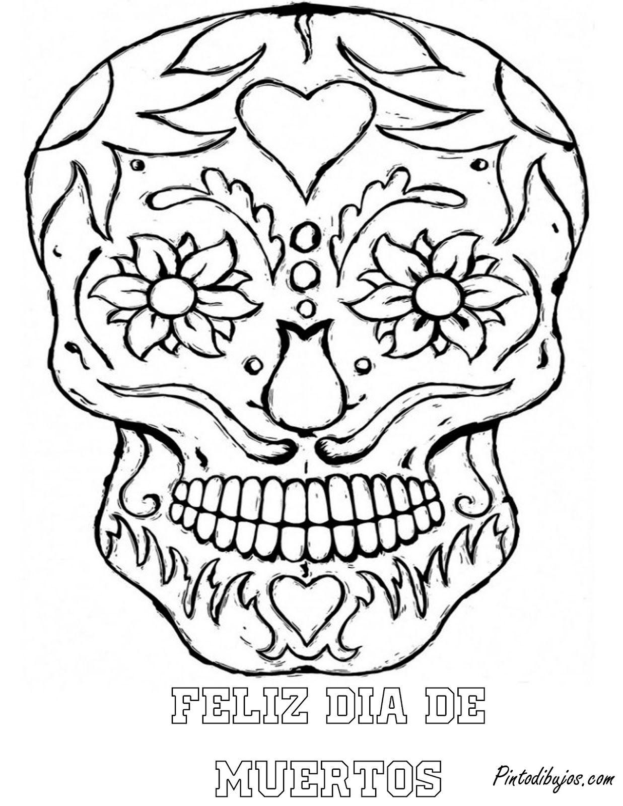 El Dia De Los Muertos Skulls Coloring Pages