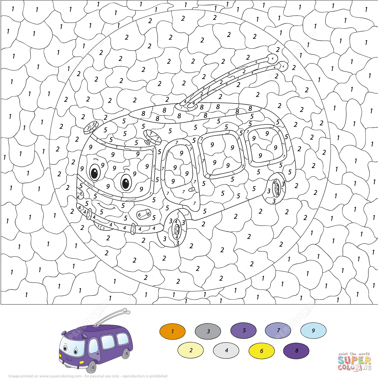 traffic light and funny car color by number coloring page