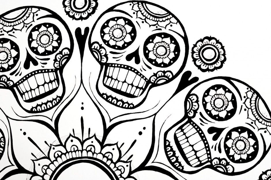 Coloring Pages Excellent Sugar Skull Coloring Pages Coloring