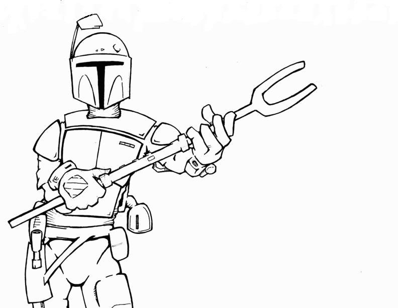 starwars sketch art page 2 creative message boards boba - Jango Fett Coloring Page