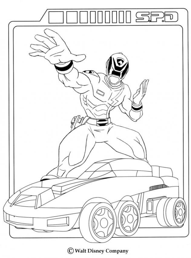 Coloriage Power Rangers Ranger Et Sa Voiture Coloring Home