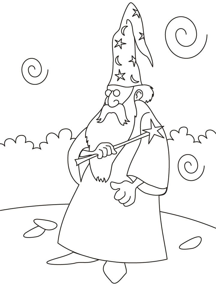 Wizard With Magic Wand Coloring Pages Download Free Wizard With Coloring Home