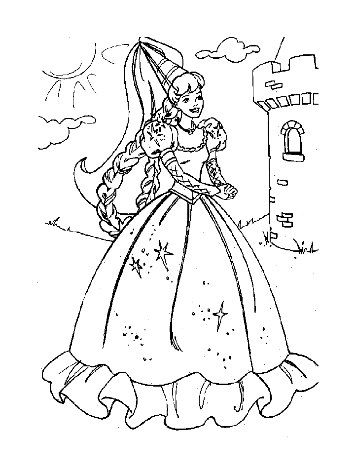 Easy Barbie Coloring Pages : Drawing pictures barbie