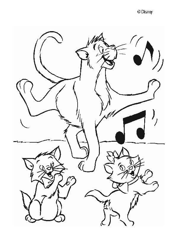 The Aristocats coloring pages - The Aristocats dancing