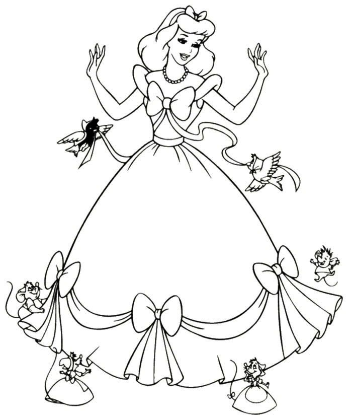 cinderella dress mice coloring page princess coloring pages