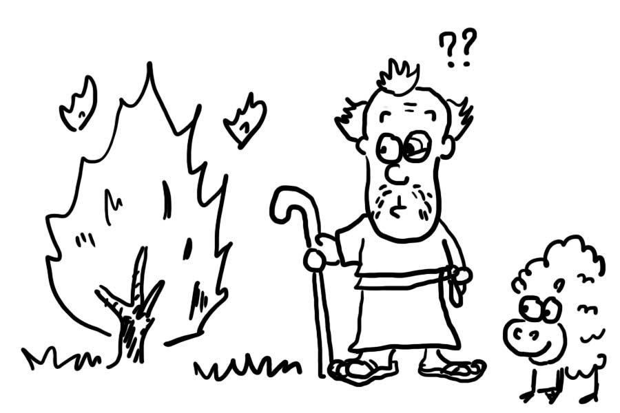 Bible Cartoon God Calls Moses