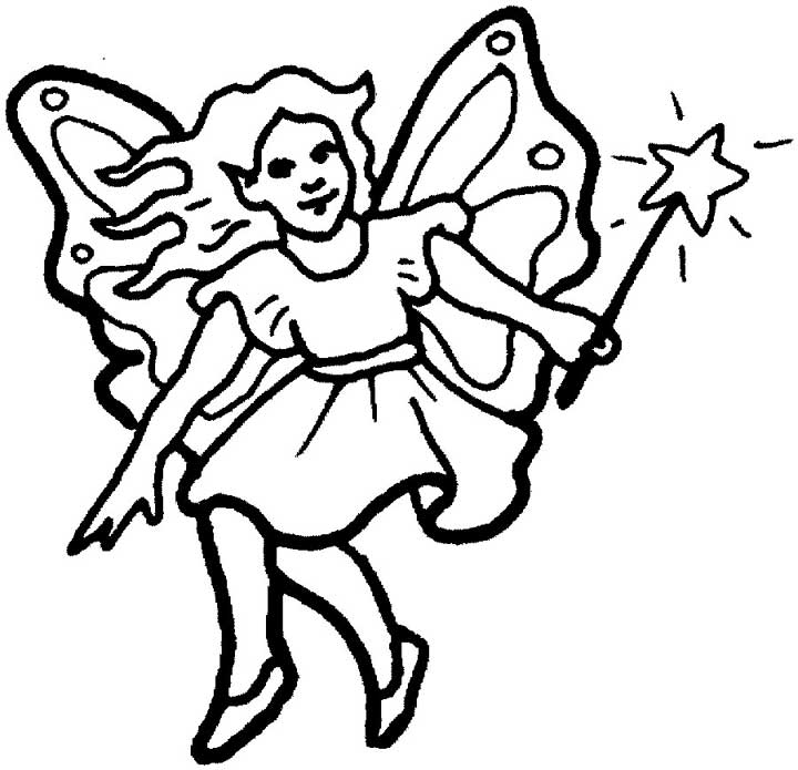 Fairy Coloring Page For Kids