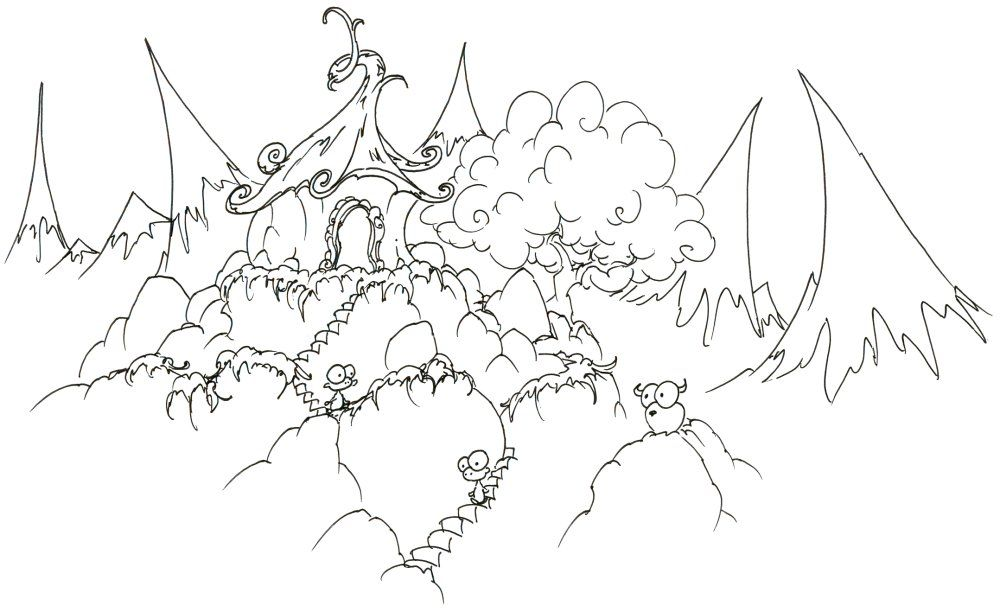 coloring page monkeys in a mountain house bluebison