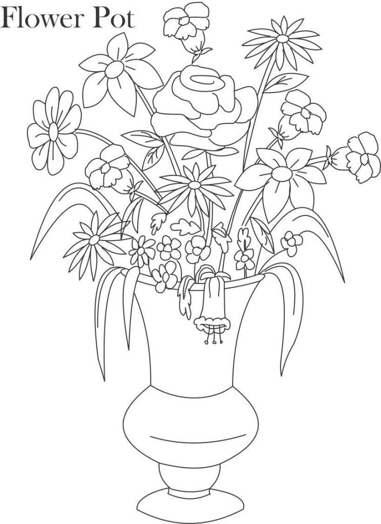 Flower Pot Coloring Page Coloring
