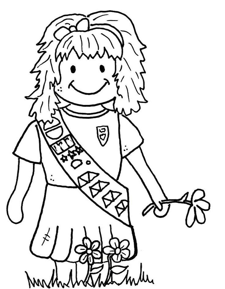 Girl Scout Brownie Coloring Picture | Girl Scouts - Coloring Pages (E…