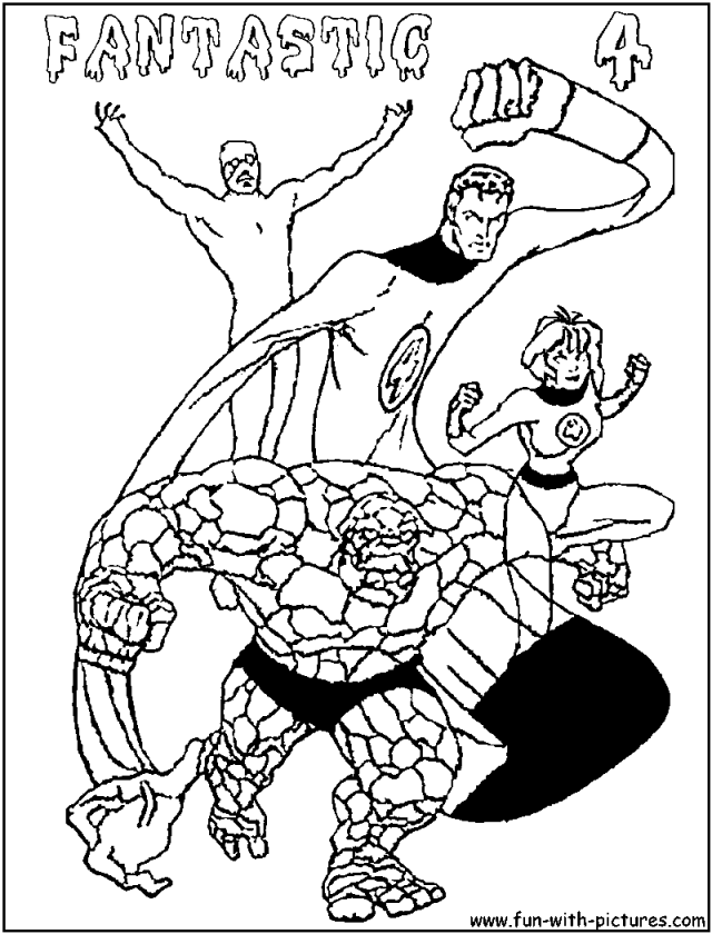 Superheroes Fantastic Four Coloring Pages Free Printable For Kids