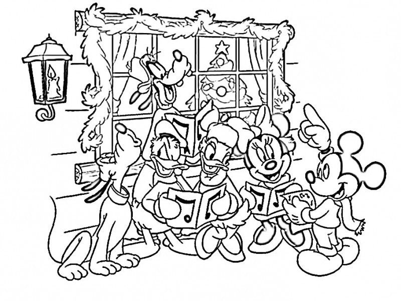 Christmas Mickey Mouse Coloring Pages