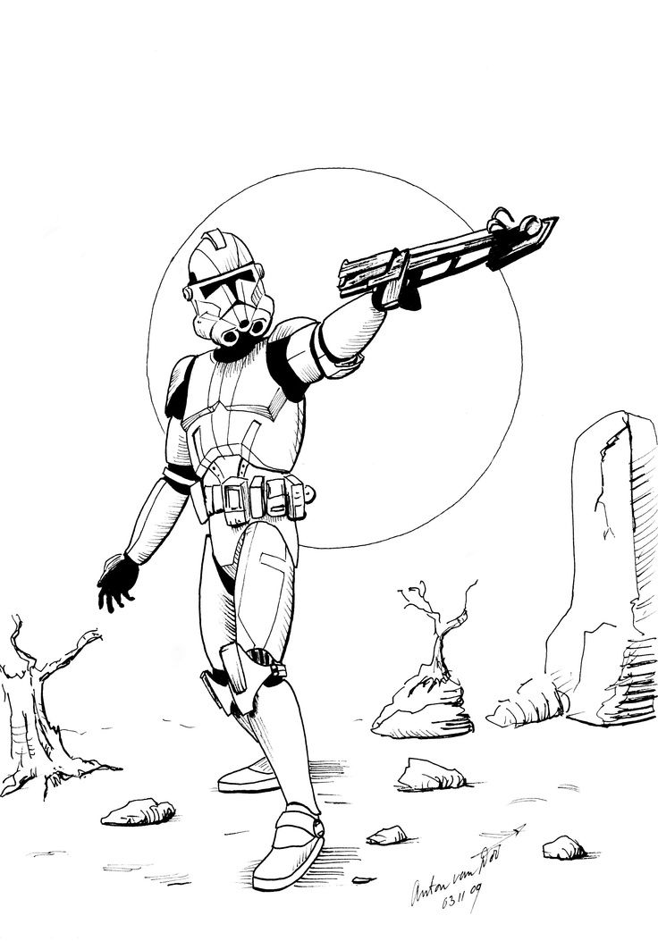 Clone Trooper Coloring page | Republic Commando/Mandalorians. | Pinte…