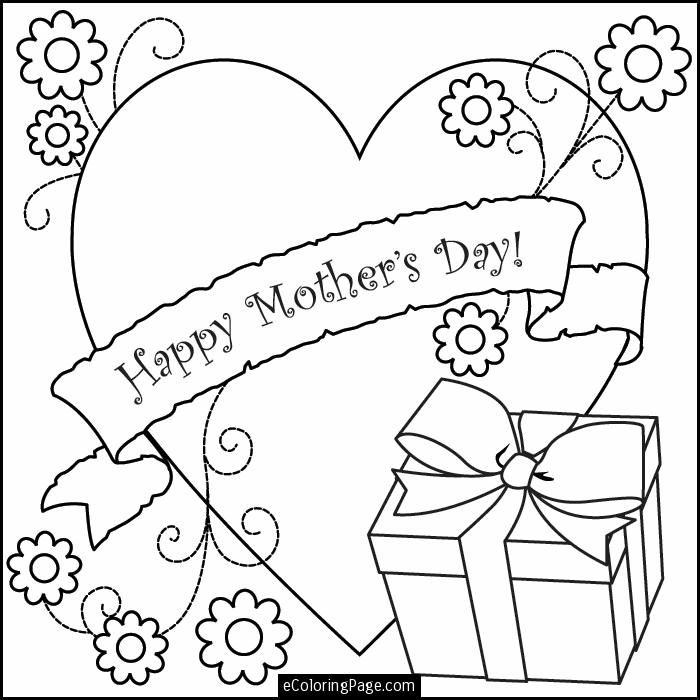 happy mothers day heart flowers and gift box printable coloring - Hearts Flowers Coloring Pages