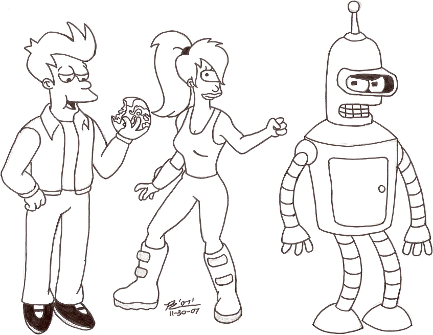 coloring pages of futurama - photo#1