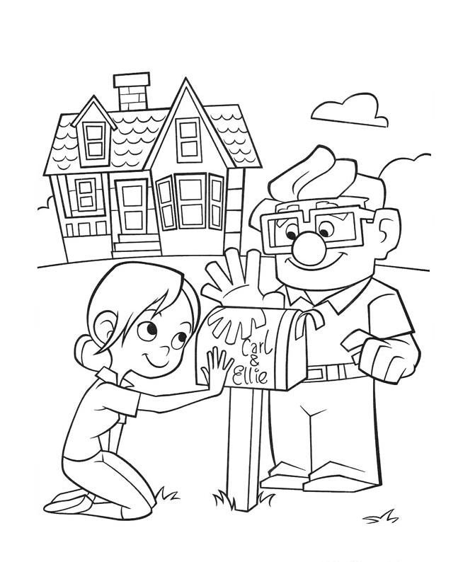 Carl And Ellie Mailbox Coloring Online | Super Coloring