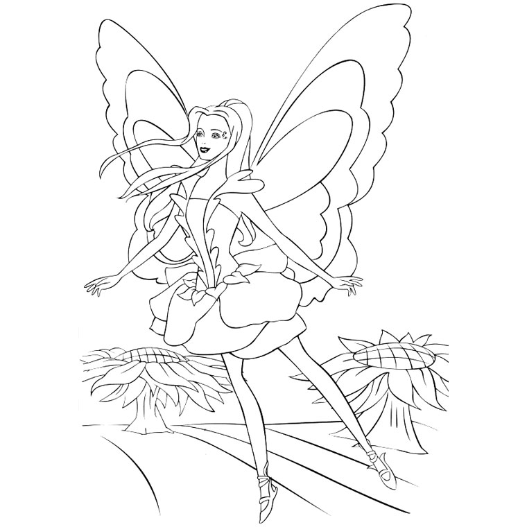 Barbie Fairytopia Pages Coloring For Kids Free to Print | coloring