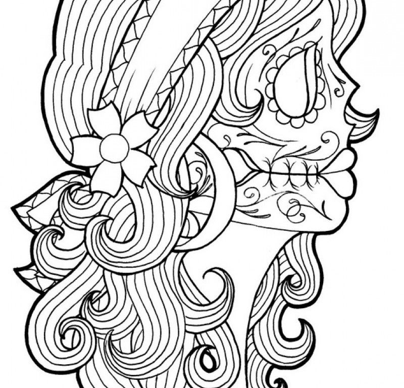 Day Of The Dead Coloring Page - HD Printable Coloring Pages