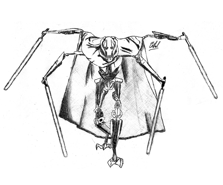 Star wars general grievous coloring pages az coloring pages - Dessin stars wars ...