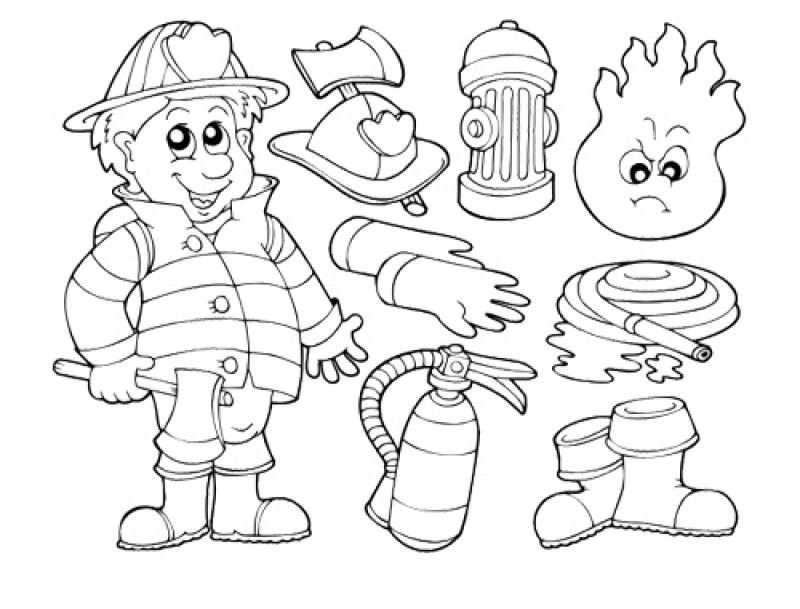 firefighters tools coloring pages - photo#3