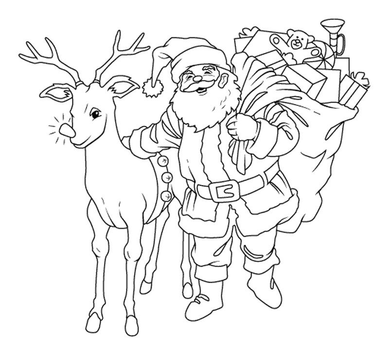 Drawing of santa claus coloring home for Santa claus with reindeer coloring pages