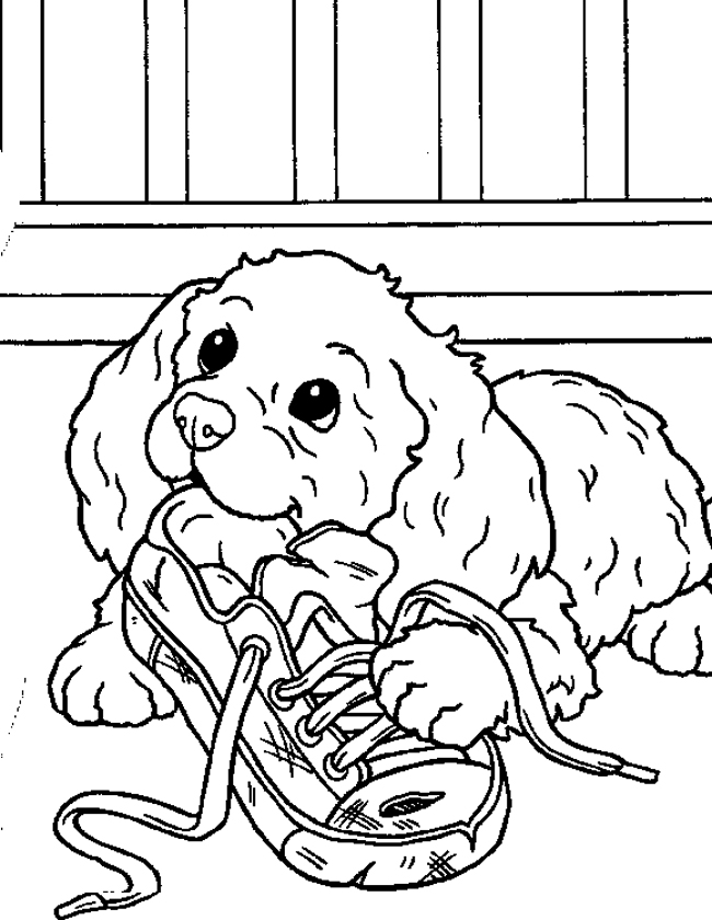 Puppies Coloring Pages Puppies That Are Biting Shoes