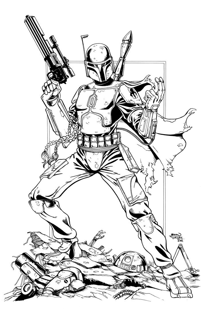 Chewbacca Coloring Pages Popular Bounty Hunter Boba Fett By Idirt